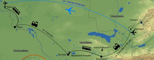 Uskekistan Routenkarte Vorschau