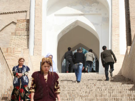 Treppe Shahizinda Samarkand Usbekistan Reise